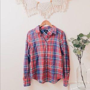 J. Crew Perfect Plaid Long Sleeve Shirt